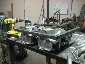 Mounting the transaxles on the steel frame
