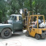 1951 International truck and forklift